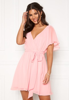 Goddiva Flutter Skater Dress Soft Pink Bubbleroom.se
