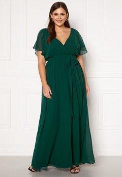 Goddiva Curve Flutter Sleeve Chiffon Maxi Curve Dress Green Bubbleroom.se