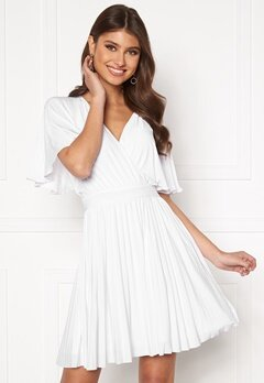 Goddiva Flutter Sleeve Dress White Bubbleroom.se