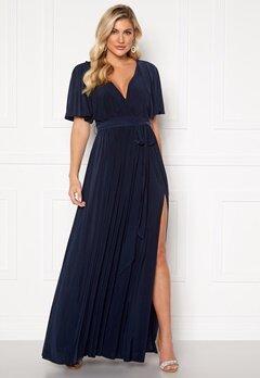 Goddiva Flutter Sleeve Maxi Dress Navy Bubbleroom.se
