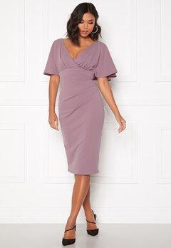 Goddiva Flutter Tie Waist Dress Dusty Lavendel Bubbleroom.se
