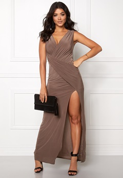 Goddiva Front Split Maxi Dress Mocha Bubbleroom.se