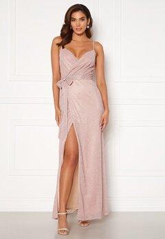 Goddiva Glitter Wrap Front Maxi Dress Blush<br>  Bubbleroom.se