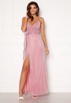 Goddiva Glitter Wrap Front Maxi Dress Pink<br>  Bubbleroom.se
