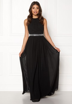 Goddiva Halter Neck Chiffon Dress Black Bubbleroom.se