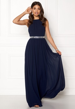 Goddiva Halter Neck Chiffon Dress Navy Bubbleroom.no