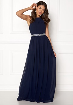 Goddiva Halter Neck Chiffon Dress Navy Bubbleroom.se
