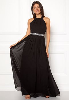 Goddiva Halterneck Chiffon Maxi Dress black Bubbleroom.se