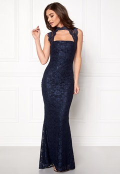 Goddiva High Neck Cut Out Lace Dress Navy Bubbleroom.se