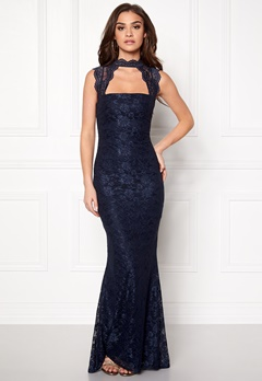 Goddiva High Neck Cut Out Lace Navy Bubbleroom.se
