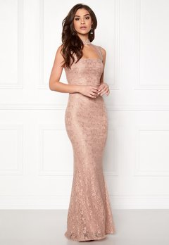 Goddiva High Neck Cut Out Lace Dress Nude Bubbleroom.se