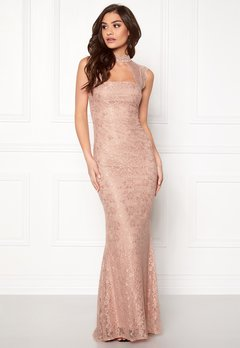 Goddiva High Neck Cut Out Lace Nude Bubbleroom.se
