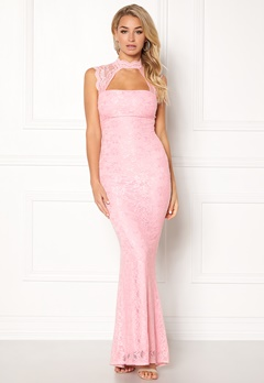 Goddiva High Neck Cut Out Lace Pink Bubbleroom.no