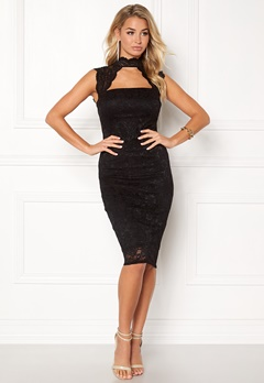 Goddiva High Neck Cut Out Midi Black Bubbleroom.fi
