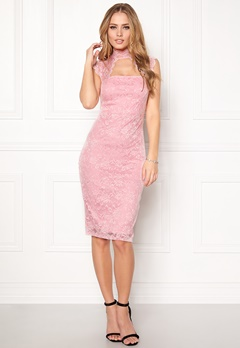 Goddiva High Neck Cut Out Midi Pink Bubbleroom.fi