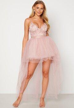 Goddiva Lace Bodice High Low Dress Nude bubbleroom.se