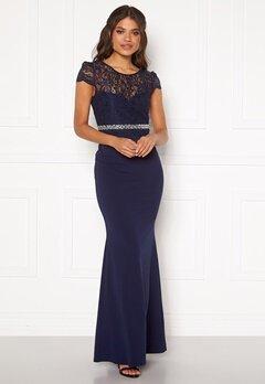 Goddiva Lace Bodice Maxi Dress Navy Bubbleroom.se