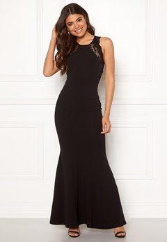 Goddiva Lace Fishtail Maxi Dress Black Bubbleroom.se