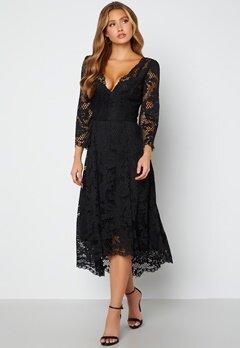Goddiva Lace High Low Midi Dress Black Bubbleroom.se