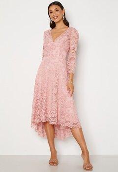 Goddiva Lace High Low Midi Dress Blush Bubbleroom.se