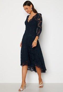 Goddiva Lace High Low Midi Dress Navy bubbleroom.se