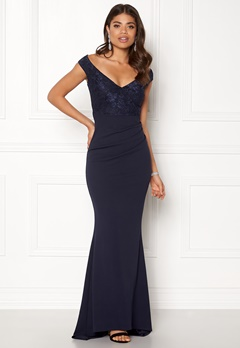 Goddiva Lace Pleated Maxi Dress Navy Bubbleroom.no