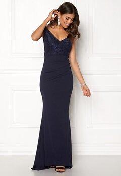 Goddiva Lace Pleated Maxi Dress Navy Bubbleroom.no
