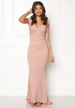 Goddiva Lace Pleated Maxi Dress Nude Bubbleroom.se