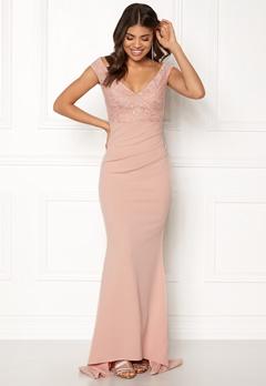 Goddiva Lace Pleated Maxi Dress Nude Bubbleroom.se