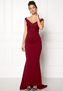 Goddiva Lace Pleated Maxi Dress Wine Bubbleroom.no