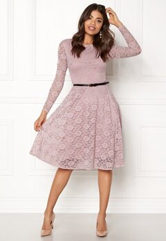 Goddiva Lace Skater Midi Dress Mauve Bubbleroom.fi