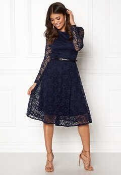 Goddiva Lace Skater Midi Dress Navy Bubbleroom.no
