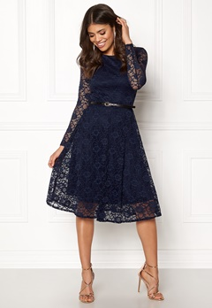 Goddiva Lace Skater Midi Dress Navy Bubbleroom.se