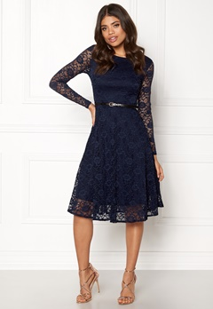 Goddiva Lace Skater Midi Dress Navy Bubbleroom.fi