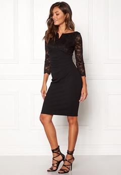 Goddiva Lace Top Midi Dress Black Bubbleroom.se