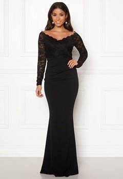 Goddiva Lace Trim Maxi Dress Black Bubbleroom.se