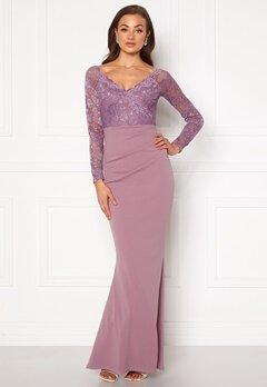 Goddiva Lace Trim Maxi Dress Dusty Lavandel Bubbleroom.se