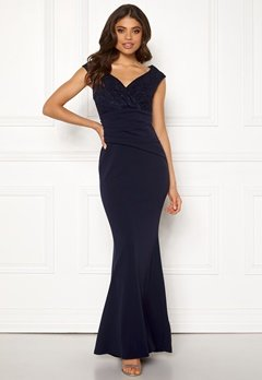 Goddiva Lace Trim Maxi Dress Navy Bubbleroom.se