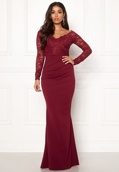 Goddiva Lace Trim Maxi Dress Wine Bubbleroom.se