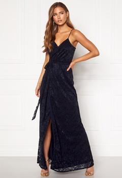 Goddiva Lace Wrap Maxi Dress Navy Bubbleroom.se