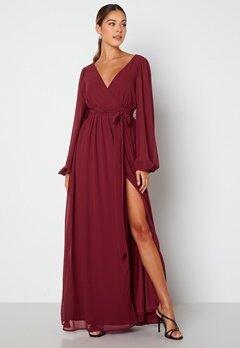 Goddiva Long Sleeve Chiffon Dress Berry Bubbleroom.se