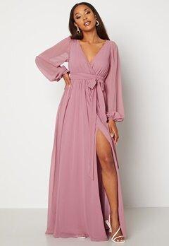 Goddiva Long Sleeve Chiffon Dress Dusty Lavendel bubbleroom.se