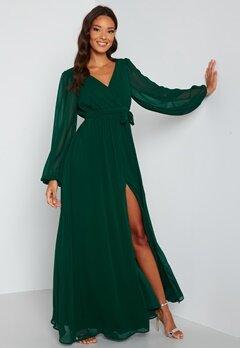 Goddiva Long Sleeve Chiffon Dress Green bubbleroom.se