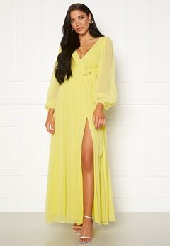 Goddiva Long Sleeve Chiffon Dress Lemon Bubbleroom.se