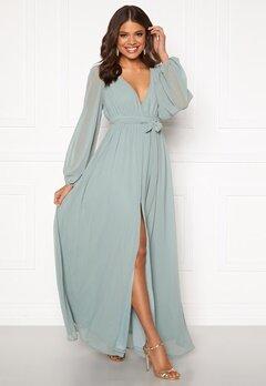 Goddiva Long Sleeve Chiffon Dress Sage Green Bubbleroom.se