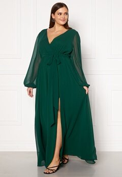 Goddiva Long Sleeve Chiffon Maxi Curve Dress Green Bubbleroom.se