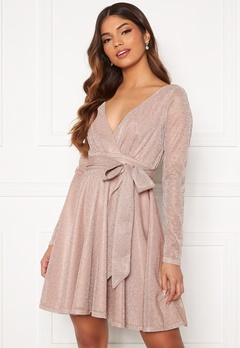 Goddiva Long Sleeve Glitter Skater Dress Nude Bubbleroom.se