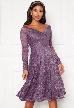 Goddiva Long Sleeve Lace Dress Dusty Lavender Bubbleroom.se