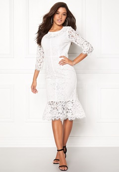 Goddiva Long Sleeve Lace Dress White Bubbleroom.se