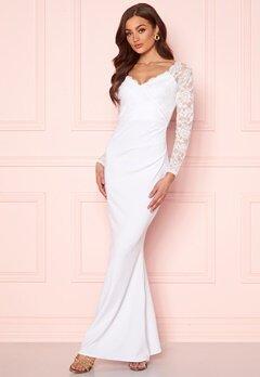 Goddiva Long Sleeve Lace Dress White Bubbleroom.se
